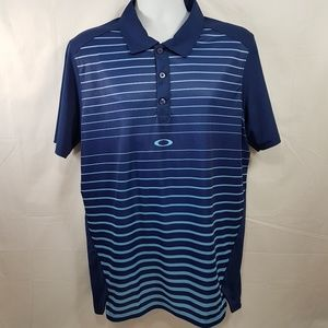 Oakley Blue Stiped Mens Golf Shirt Polo